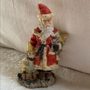 """5"""" resin Santa Claus w elf gifts Figurine Defects"""